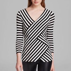 Vince Camuto black & white stripe wrap top